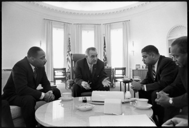 Rev. Dr. King, President Johnson and civil rights leaders