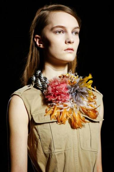 Dries Van Noten Feather and Flower Necklace - ©Indigitalimages