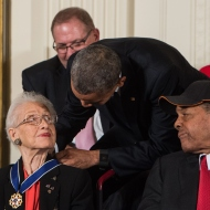 President Obama & Katherine Johnson NICHOLAS KAMM/AFP/Getty Images)