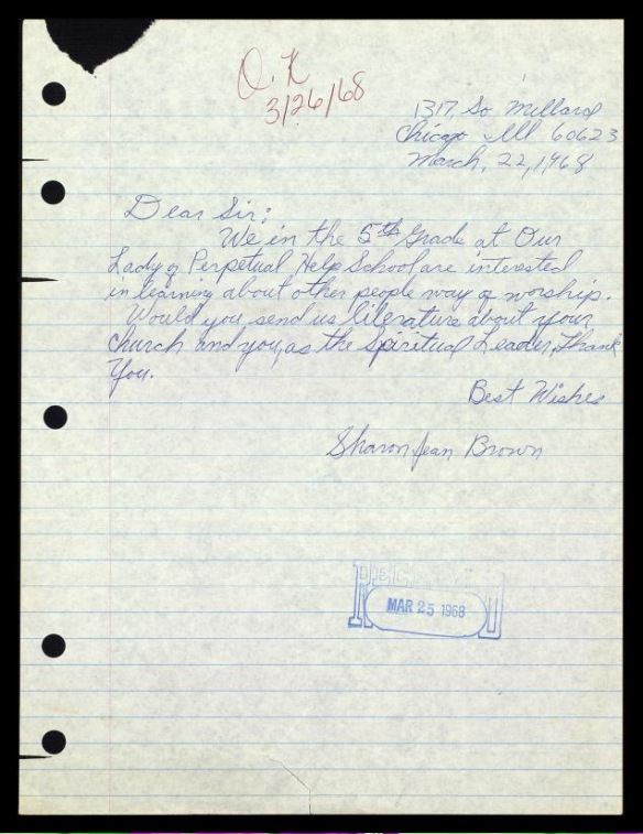 A student in Chicago requests information about Dr. King's Church