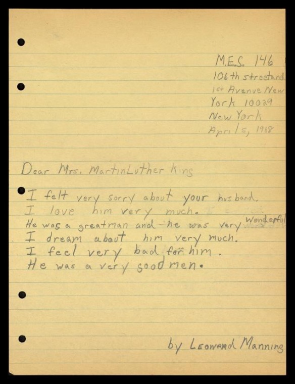 Sent to Mrs. King from a student in NYC after Dr. King was killed.