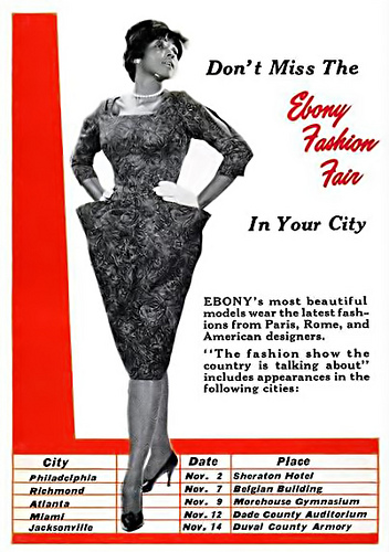 Ebony Fashion Fair Ad via Flickr 1958
