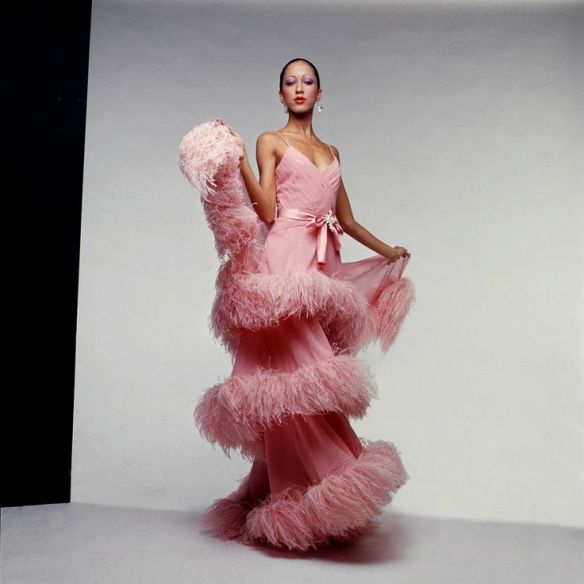 Ebony Fashion Fair, Pat Cleveland in Valentino - via splendidhabitat.com